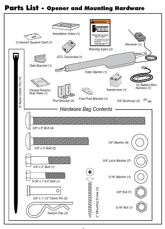 Mighty Mule FM350 Gate Opener Included Parts mighty mule fm350 opener kit mighty mule 350 medium duty single mighty mule gate opener wiring diagram at gsmx.co
