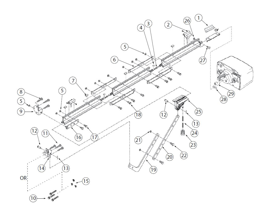 Ac Screw Drive Retail Rail Garage Door Operators