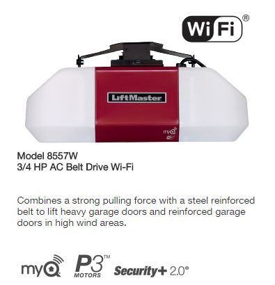 Liftmaster Model 8557W 3-4 HP AC Belt Drive Wi-Fi Garage Door Operator