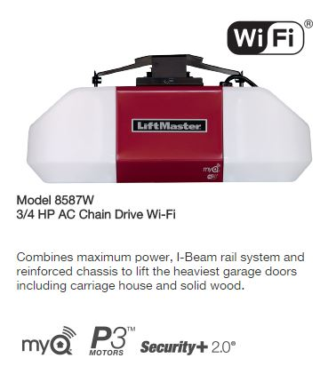 Liftmaster Model 8587W 3-4 HP AC Chain Drive Wi-Fi Garage Door Operator