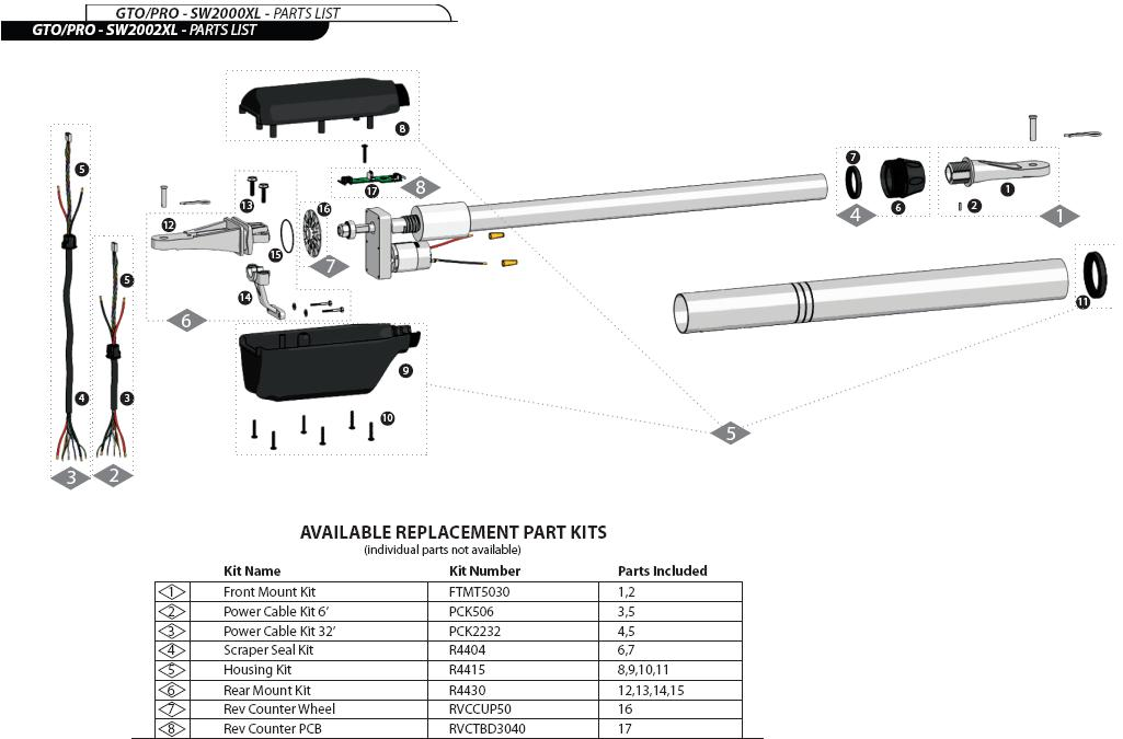 Gto Pro Sw2000xl Sw2002xl Series Replacement Parts