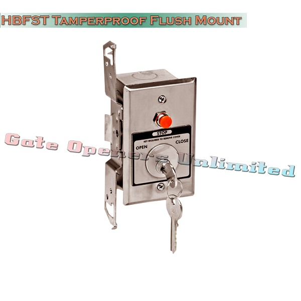 MMTC HBFST Nema 1 Interior Tamperproof Open-Close Key Switch With Stop Button In Single Gang Back Box Flush Mount