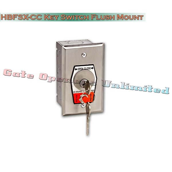 MMTC HBFSX-CC Exterior Open-Close Changeable Core Cylinder Key Switch With Stop Button In Single Gang Back Box Flush Mount
