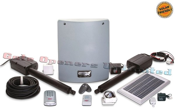 Sentry 300 M 020345 Medium Solar Charged Automatic Gate Opener Double Gate Deluxe Kit