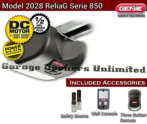 Genie 2028-2TX  DC Belt Drive Garage Operator - Genie ReliaG DC Garage Door Opener - 38480RS Head Only