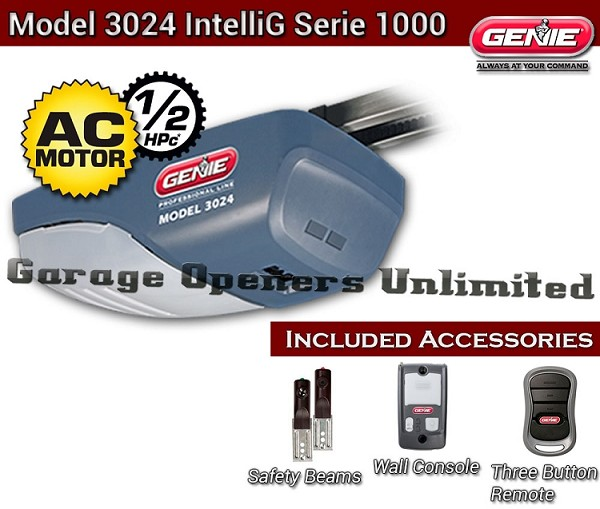 Genie 3024-7  DC Chain Drive Garage Door Operator - Genie IntelliG Garage Opener - 7' Door Rail