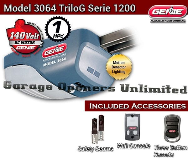 Genie 3064 - Genie TriloG Pro Series - 37045R DC Screw Drive Garage Opener - Head Only