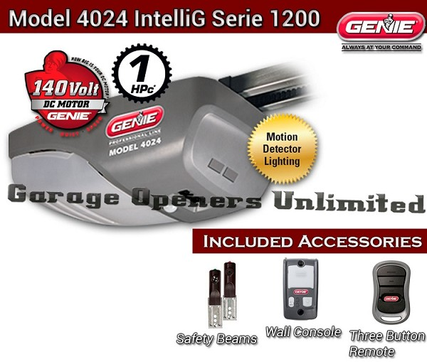 Genie IntelliG Garage Opener - Genie 4024 DC Belt Drive Garage Door Operator - 37044S Head Only