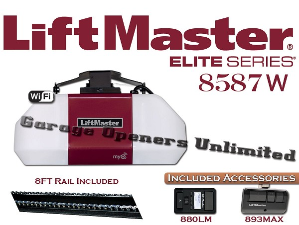 Liftmaster 8587W - Elite Series 3/4 HP AC Chain Drive Wi-FI Garage Door Opener for 8ft Doors - Includes Rail