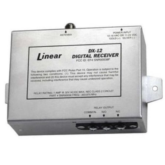 Linear SNR00038, DX-12 12/24V 1-Channel Metal Housing Case Receiver, Aluminum